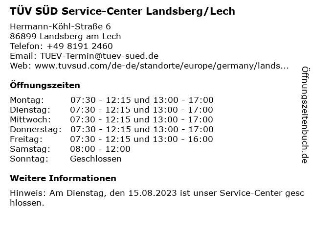 TÜV SÜD Service-Center Landsberg/Lech in Landsberg/Lech Nord: Adresse und Öffnungszeiten