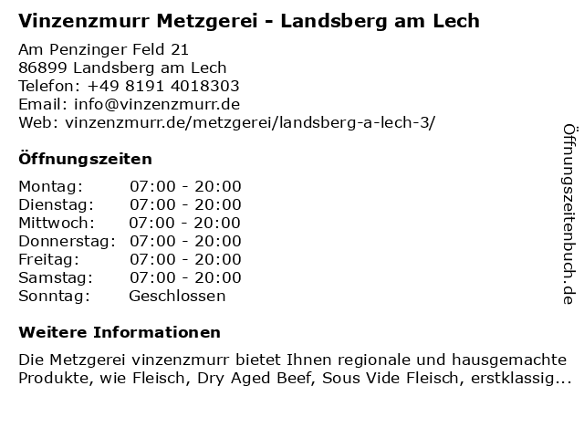 vinzenzmurr Vertriebs GmbH in Landsberg (Lech): Adresse und Öffnungszeiten