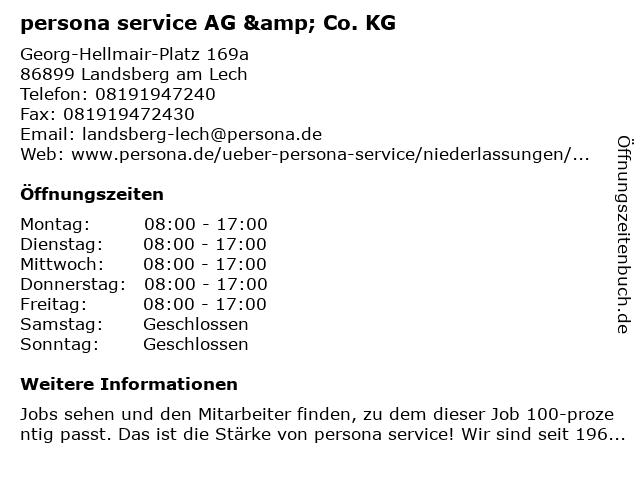 persona service AG & Co. KG in Landsberg am Lech: Adresse und Öffnungszeiten