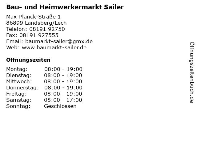 Bau- und Heimwerkermarkt Sailer in Landsberg/Lech: Adresse und Öffnungszeiten