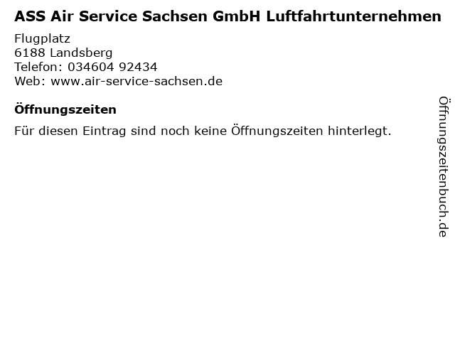 ASS Air Service Sachsen GmbH Luftfahrtunternehmen in Landsberg: Adresse und Öffnungszeiten