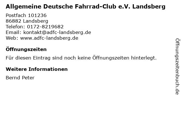 Allgemeine Deutsche Fahrrad-Club e.V. Landsberg in Landsberg: Adresse und Öffnungszeiten