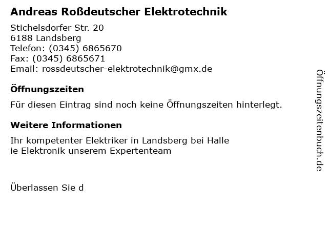 Andreas Roßdeutscher Elektrotechnik in Landsberg: Adresse und Öffnungszeiten