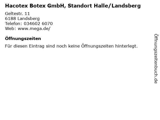 Hacotex Botex GmbH, Standort Halle/Landsberg in Landsberg: Adresse und Öffnungszeiten