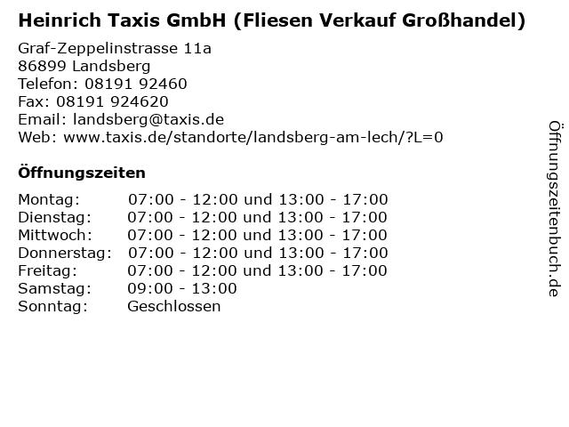 Heinrich Taxis GmbH (Fliesen Verkauf Großhandel) in Landsberg: Adresse und Öffnungszeiten