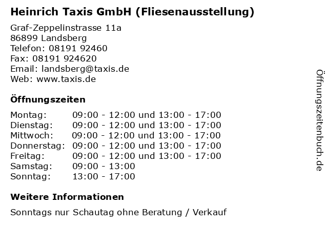 Heinrich Taxis GmbH (Fliesenausstellung) in Landsberg: Adresse und Öffnungszeiten