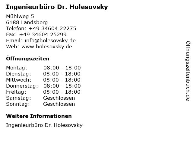 Ingenieurbüro Dr. Holesovsky in Landsberg: Adresse und Öffnungszeiten