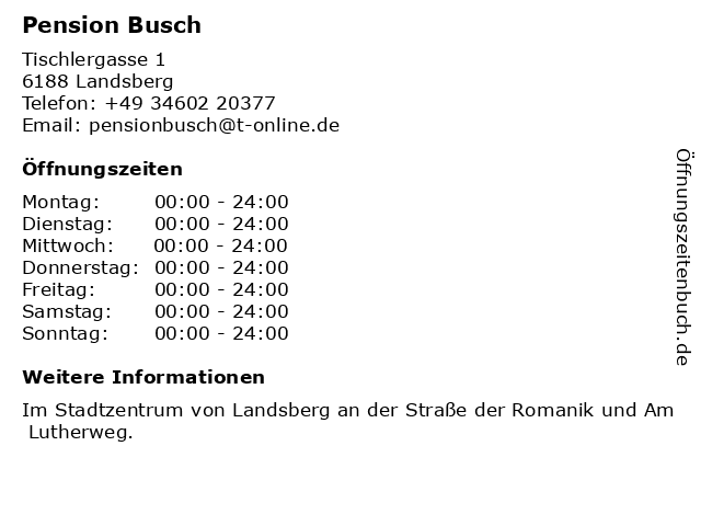 Pension Busch in Landsberg: Adresse und Öffnungszeiten
