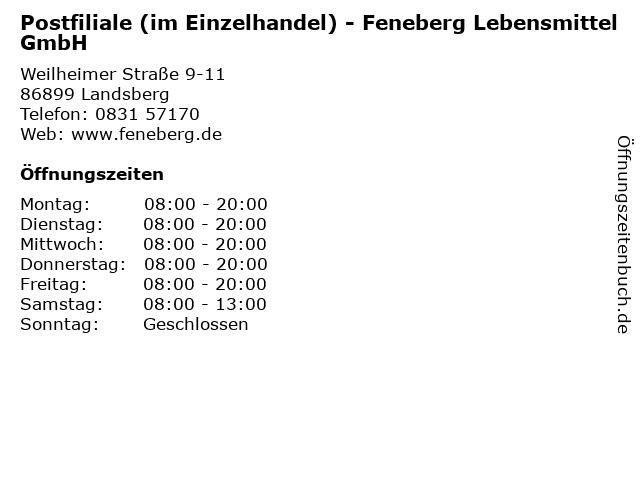 Postfiliale (im Einzelhandel) - Feneberg Lebensmittel GmbH in Landsberg: Adresse und Öffnungszeiten