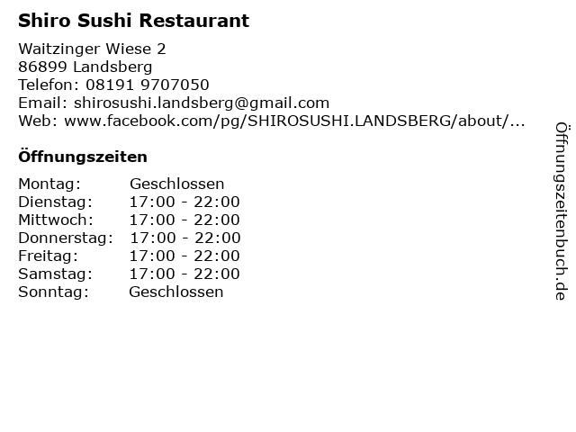 Shiro Sushi Restaurant in Landsberg: Adresse und Öffnungszeiten