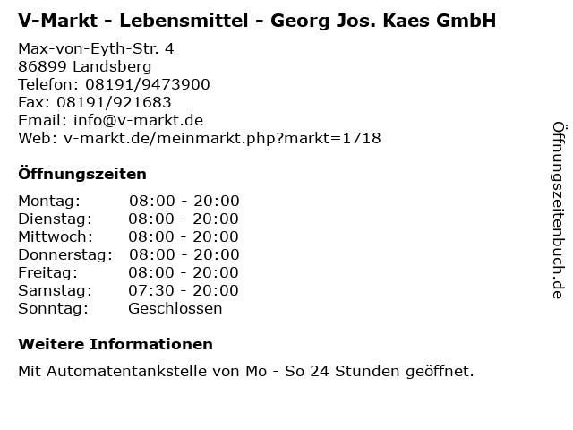 V-Markt - Lebensmittel - Georg Jos. Kaes GmbH in Landsberg: Adresse und Öffnungszeiten