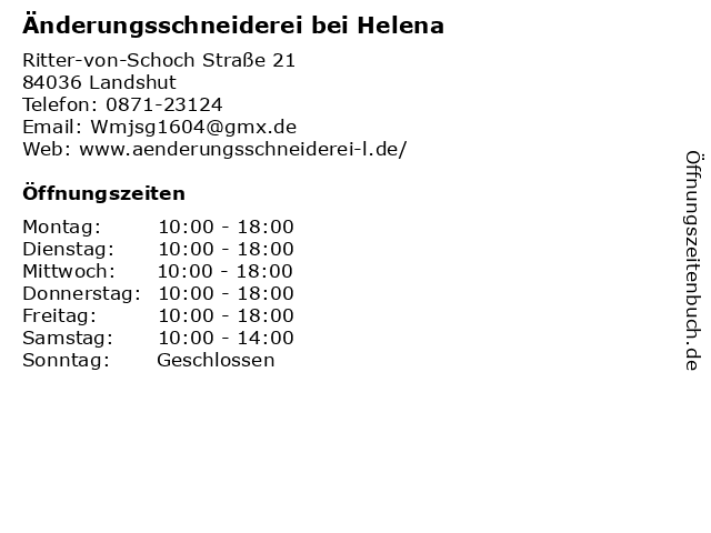 Änderungsschneiderei bei Helena in Landshut: Adresse und Öffnungszeiten