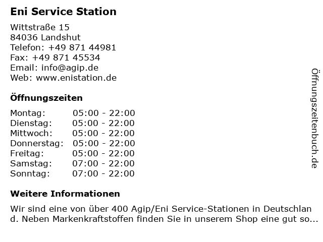 Agip Service Station in Landshut: Adresse und Öffnungszeiten