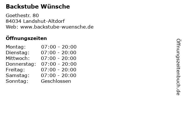Backstube Wünsche in Landshut-Altdorf: Adresse und Öffnungszeiten