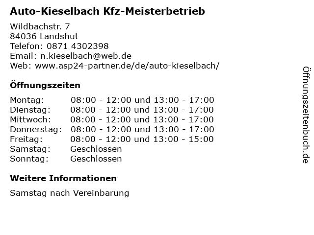 Auto-Kieselbach Kfz-Meisterbetrieb in Landshut: Adresse und Öffnungszeiten