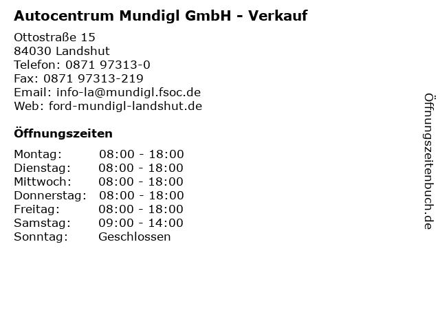 Autocentrum Mundigl GmbH - Verkauf in Landshut: Adresse und Öffnungszeiten