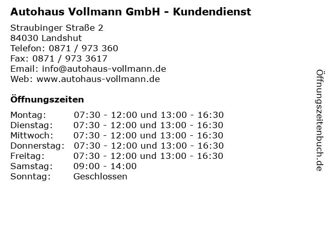 Autohaus Vollmann GmbH - Kundendienst in Landshut: Adresse und Öffnungszeiten