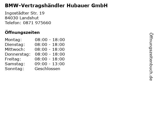 BMW-Vertragshändler Hubauer GmbH in Landshut: Adresse und Öffnungszeiten