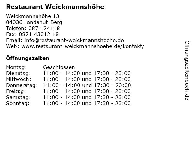 Restaurant Weickmannshöhe in Landshut-Berg: Adresse und Öffnungszeiten