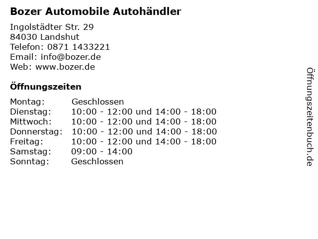 Bozer Automobile Autohändler in Landshut: Adresse und Öffnungszeiten