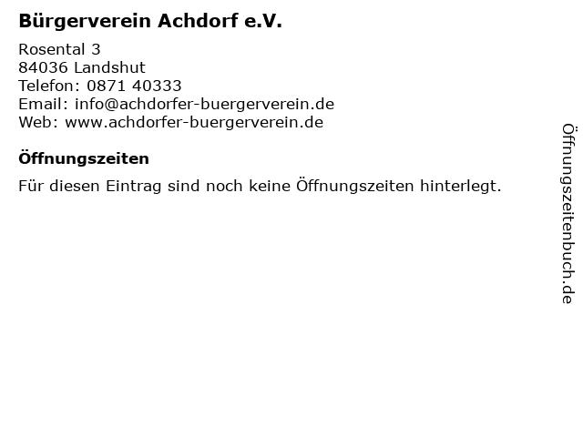 Bürgerverein Achdorf e.V. in Landshut: Adresse und Öffnungszeiten