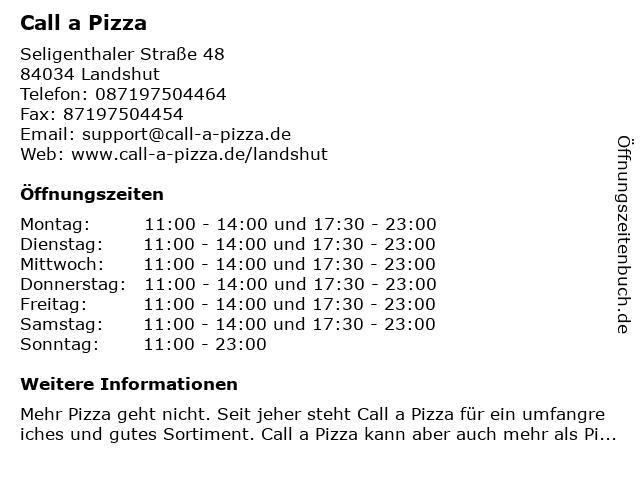 Call a Pizza in Landshut: Adresse und Öffnungszeiten