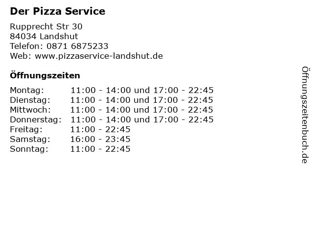 Der Pizza Service in Landshut: Adresse und Öffnungszeiten