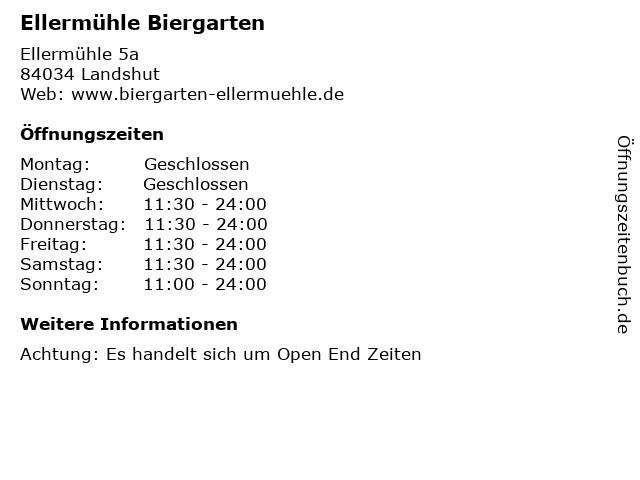Ellermühle Biergarten in Landshut: Adresse und Öffnungszeiten