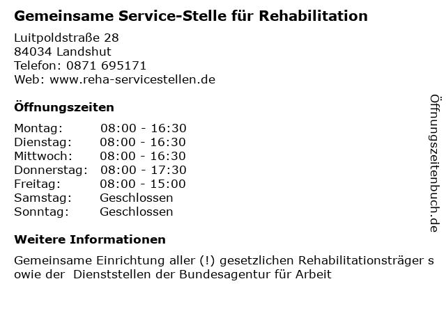 Gemeinsame Service-Stelle für Rehabilitation in Landshut: Adresse und Öffnungszeiten