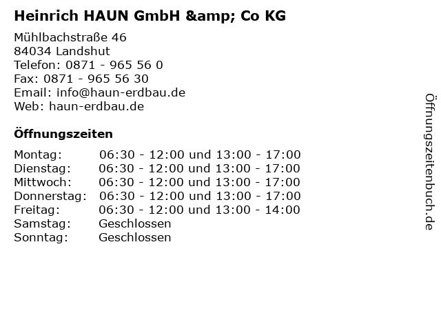 Heinrich HAUN GmbH & Co KG in Landshut: Adresse und Öffnungszeiten