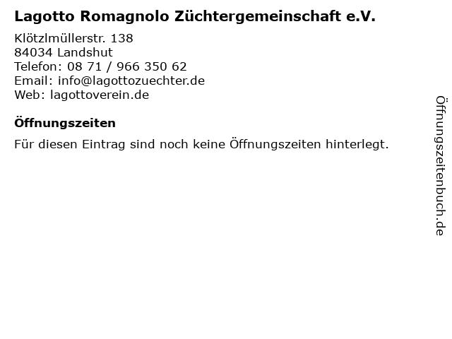 Lagotto Romagnolo Züchtergemeinschaft e.V. in Landshut: Adresse und Öffnungszeiten