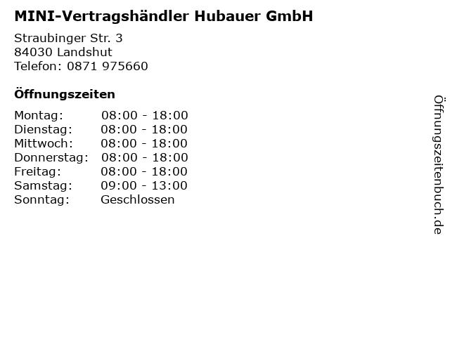 MINI-Vertragshändler Hubauer GmbH in Landshut: Adresse und Öffnungszeiten