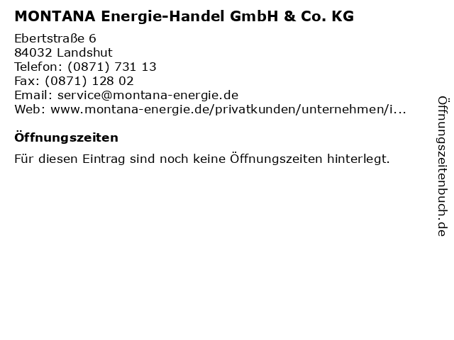 MONTANA Energie-Handel GmbH & Co. KG in Landshut: Adresse und Öffnungszeiten