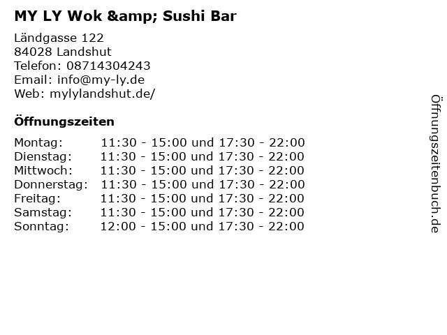 MY LY Wok & Sushi Bar in Landshut: Adresse und Öffnungszeiten