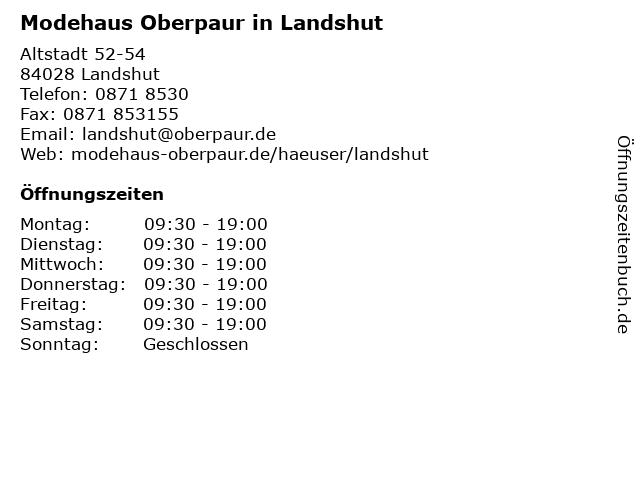 Modehaus Oberpaur in Landshut in Landshut: Adresse und Öffnungszeiten