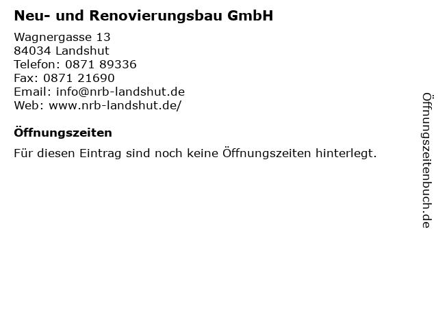 Neu- und Renovierungsbau GmbH in Landshut: Adresse und Öffnungszeiten