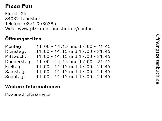 Pizza Fun in Landshut: Adresse und Öffnungszeiten