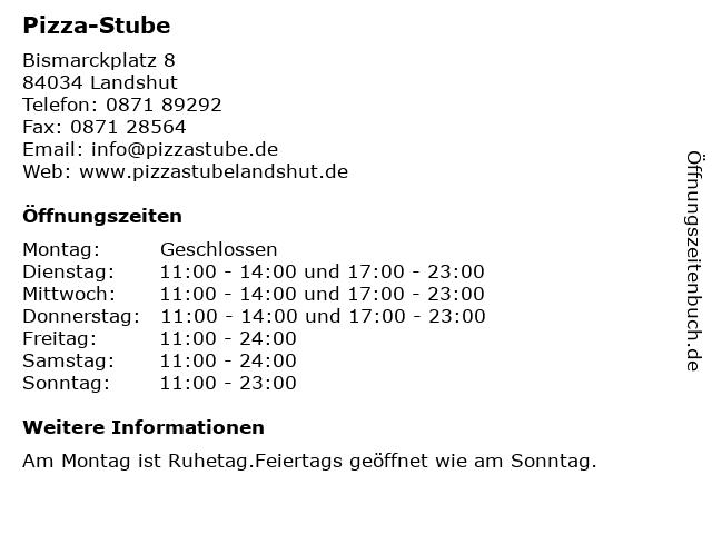 Pizza-Stube in Landshut: Adresse und Öffnungszeiten