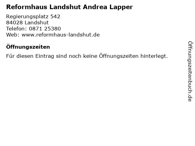 Reformhaus Landshut Andrea Lapper in Landshut: Adresse und Öffnungszeiten