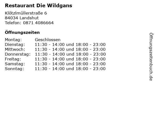 Restaurant Die Wildgans in Landshut: Adresse und Öffnungszeiten