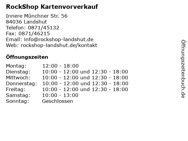 RockShop Kartenvorverkauf in Landshut: Adresse und Öffnungszeiten