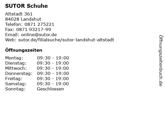 SUTOR Schuhe in Landshut: Adresse und Öffnungszeiten