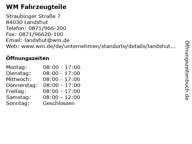 WM Fahrzeugteile in Landshut: Adresse und Öffnungszeiten