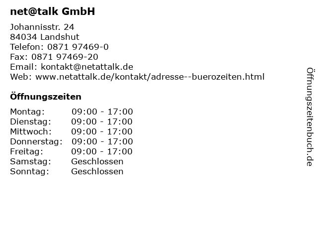 net@talk GmbH in Landshut: Adresse und Öffnungszeiten