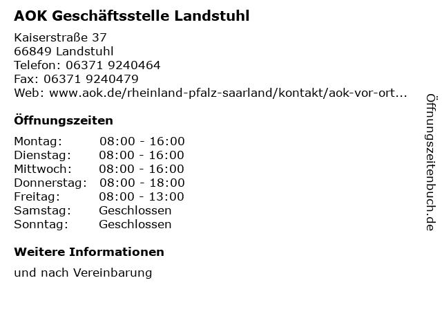 AOK Geschäftsstelle Landstuhl in Landstuhl: Adresse und Öffnungszeiten