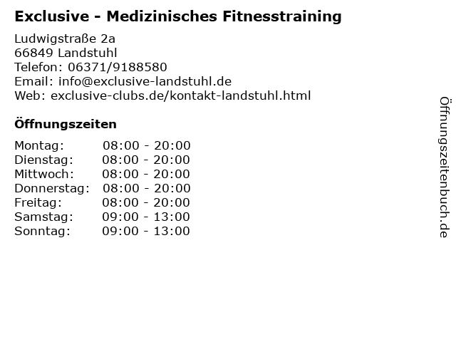 Exclusive - Medizinisches Fitnesstraining in Landstuhl: Adresse und Öffnungszeiten