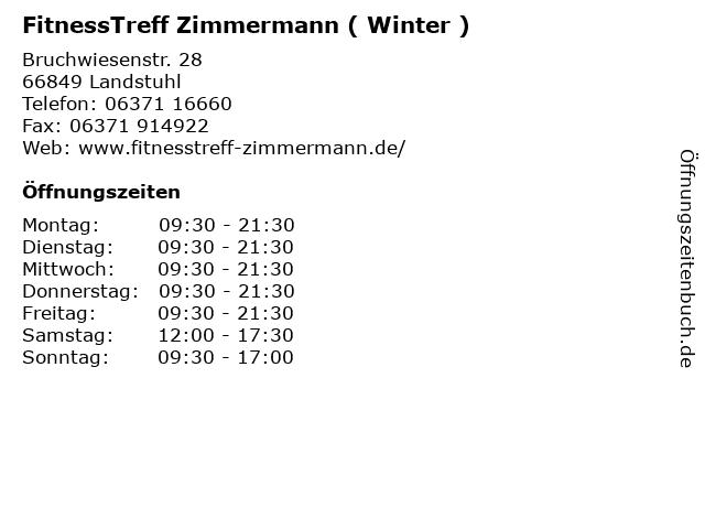 FitnessTreff Zimmermann ( Winter ) in Landstuhl: Adresse und Öffnungszeiten