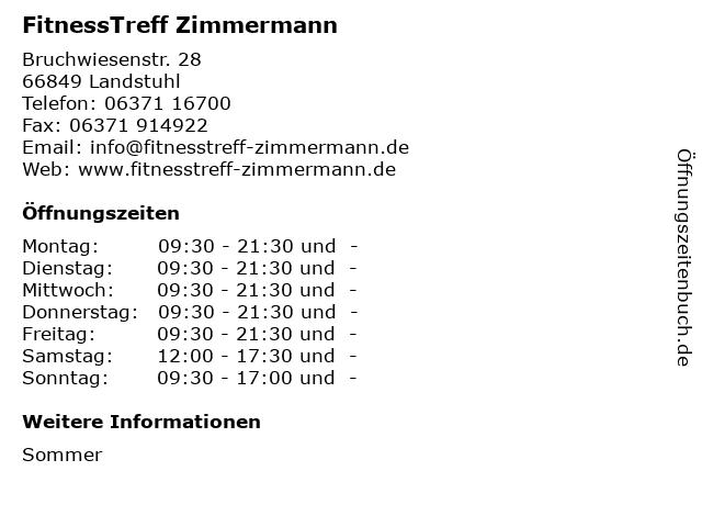 FitnessTreff Zimmermann in Landstuhl: Adresse und Öffnungszeiten