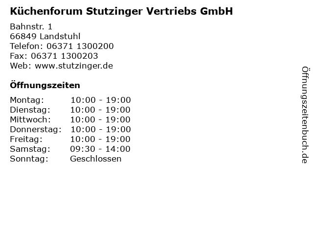 ᐅ Offnungszeiten Kuchenforum Stutzinger Vertriebs Gmbh Bahnstr