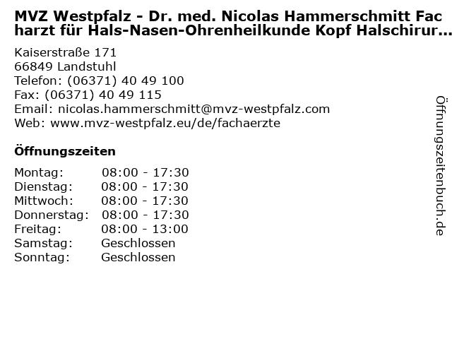 MVZ Westpfalz - Dr. med. Nicolas Hammerschmitt Facharzt für Hals-Nasen-Ohrenheilkunde Kopf Halschirurgie, Allergologie und plastische Operationen in Landstuhl: Adresse und Öffnungszeiten